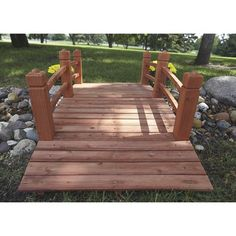 This classic Stonegate Designs Wooden Garden Bridge makes a great addition to any garden or landscaping project. Pond Design, Patio Design, Garden In The Woods, Lawn And Garden, Organic Gardening, Gardening Tips, Garden Playhouse, Outdoor Steps, Backyard Projects