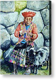 Spinning Wool Canvas Prints - Spinner Machu Pichu Canvas Print by Kirsten Beitler