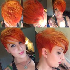 Asymmetrical orange and yellow sunburst pixie cut. 2014 short punk style, fresh bright and fun. Manic Panic color.