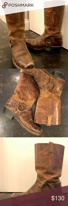 """Women FRYE Harness Boot in Dark Brown -Classic Frye Harness Boot (truly gets better with age!) -Dark Brown and Women's US 8 -Unlined with rugged, rubber bottoms  -11.5"""" shaft height, 14"""" shaft circumference, 1.75"""" heel height -Made in the USA sourced with domestic and imported products Frye Shoes Heeled Boots"""