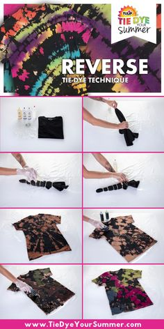 Worth It Events: Tie Dye your Summer!Worth It Events: Tie Dye your Summer!Reverse Tie-DyeLearn how to tie-dye dark shirts with this reverse tie-dye technique! BleachTieDye ReverseTieDye TieDye TieDyeTechnique Step by step photo and video Fête Tie Dye, Tulip Tie Dye, Tie Dye Party, Bleach Tie Dye, How To Tie Dye, Bleach Dye Shirts, Bleach Pen, Tie Dye Tips, Shibori Tie Dye