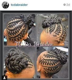 Creative Braided Updo @tcdabraider - http://www.blackhairinformation.com/community/hairstyle-gallery/updos/creative-braided-updo-tcdabraider/ #braids #updo #cornrows