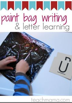 Use a ziploc bag full of paint to practice letter writing and learning! Kids love this easy, mess free activity to practice writing and learning letters! #teachmama #alphabet #alphabetlearning #paint #paintactivity #kidsactivities #learningactivities #preschool #summerfun #indooractivity