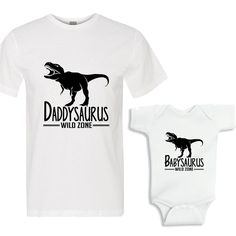 Daddysaurus - Babysaurus White Shirts Daddy and Me Shirt Set by bodysuitsbynany on Etsy