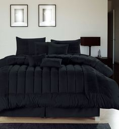 Chic home Seville Embroidered Comforter Set, Black Queen Black Comforter Sets, Queen Comforter Sets, Bedding Sets, Black Bedding, Cozy Bedroom, Bedroom Decor, King Bedroom, Bedroom Black, Bed In A Bag