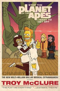 """Items similar to The Simpsons """"Planet of the Apes- The Musical! """" 13 x 19 inch poster on Etsy Classic Cartoon Characters, Classic Cartoons, Cartoon Art, The Simpsons, Los Simsons, Rick E, Poster Design, Planet Of The Apes, Futurama"""