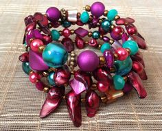 Rich Red Purple Pink & Turquoise Teal Blue by PeacocksandLeopards, $25.00