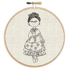 Bastidor de Parede - Frida - Cecília Murgel Drawings