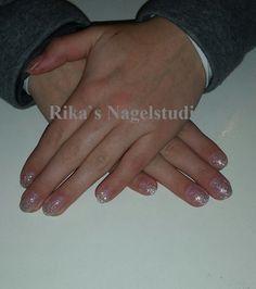 acryl op eigen nagel met glittertjes
