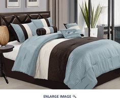 Victoria Classics Berkley King Comforter Set in Ivory and Blue - Beyond the Rack Luxury Comforter Sets, Blue Comforter Sets, Queen Comforter Sets, Ivory Bedding, Striped Bedding, Kohls Bedding, Bedding Decor, Color Ivory, Bedding