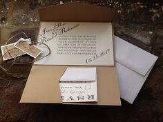 Pocketfold - Modern Wedding Invitations, rsvp card and twine & tages. $5,00, via Etsy.