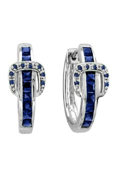 Kelly Herd Elegant Buckle Earrings - Sapphire Crystals