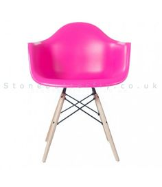 Charles Ray Eames Style DAW Arm Chair - Pink NEW