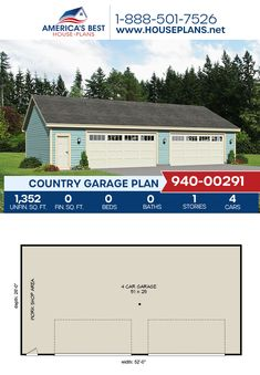Plan 940-00291 details a Country garage with 1,352 sq. ft. for 4 cars. #garage #countrygarage #architecture #houseplans #housedesign #homedesign #homedesigns #architecturalplans #newconstruction #floorplans #dreamhome #dreamhouseplans #abhouseplans #besthouseplans #newhome #newhouse #homesweethome #buildingahome #buildahome #residentialplans #residentialhome