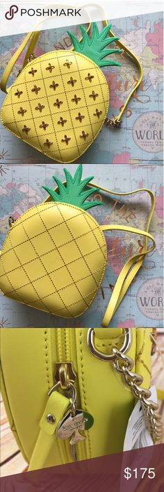 """Kate Spade Pineapple 🍍 Purse ✨✨Wallet available also. Bundle and save.✨✨  BRAND NEW LEATHER PINEAPPLE CROSSBODY/BAG/PURSE.ZIP AROUND CLOSURE.GOLD TONE HARDWARE.FRONT AND BACK STITCHING.STONE DESIGN ON FRONT.LEATHER STRAP WITH 4"""" OF CHAIN ON EACH SIDE.TOTAL DROP 24"""".LEATHER GREEN LEAVE ON TOP.KATE SPADE GOLD CHARM ON ZIPPER.TAN KATE SPADE SIGNATURE LINING.FROM A SMOKE FREE AND PET FREE HOME.HEIGHT INCLUDING PINEAPPLE TOP 11""""X W 7""""  Fast shipping. kate spade Bags Crossbody Bags"""
