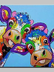 Peint+à+la+main+Animaux+Carré,+Abstrait+Moderne/Contemporain+Toile+Peinture+à+l'huile+Hang-peint+Décoration+d'intérieur+Un+Panneau+–+EUR+€+59.73