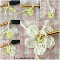 Crochet a 5 Petal Flower - Wendy Schultz via Sharin Ware onto Crochet.For Beginners Tig Isi Cicek Motif Picture Narration Newcomer … - The GardenersFive petal flower. Treble crochet, single stitch and foundation chain Knit Or Crochet, Crochet Motif, Crochet Crafts, Yarn Crafts, Crochet Projects, Crochet Stitches, Knitted Flowers, Crochet Flower Patterns, Knitting Patterns