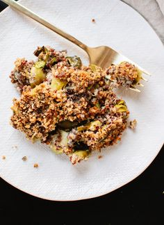 Roasted brussels sprouts and quinoa collide in this creamy, cheesy, texture-rich dish. If you're looking for a healthier gratin recipe, this is it!