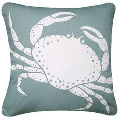 Crab pillow is so cute for a beachy look!