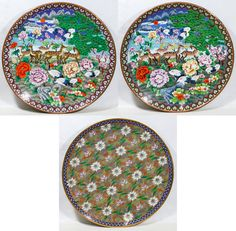 Lot 531: Cloisonne Chargers; Three contemporary pieces with animal and flower motif