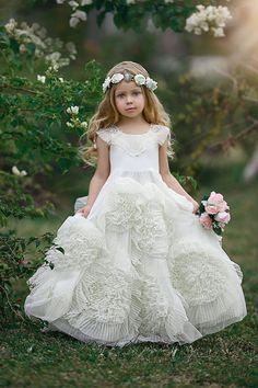 50% Off Floral Hem Floor-Length Ball-Gown Girl Dress flower girl dresses :https://www.bycouturier.com/flower-girl-dresses-c165