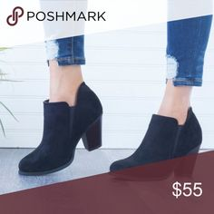 c08fe34b314370 Black Faux Suede Ankle Booties - New Arrival!!! Boutique