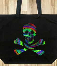 TIE DYE SKULL & CROSSBONES PRINTED TOTE BAG ON RECYCLED COTTON Skull And Crossbones, Printed Tote Bags, Print Design, Recycling, Tie Dye, Unique, Prints, Cotton, Fun