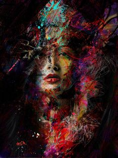 yossi kotler art- portrait- giclee print embellished not framed to be shipped rolled in a secure tube - inkjet print embellished on high quality canvas / illustration drawing, original painting. L'art Du Portrait, Abstract Portrait, Abstract Art, Portraits, Art And Illustration, Arte Pop, Face Art, Medium Art, Figurative Art