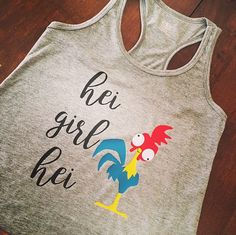 Who loves HeiHei! This girl does! Im a little obsessed with HeiHei from moana and Im so in love to share this hei girl hei tee with yall! This is an adult tank but like any other tee in our shop we can make it in kid sizes too just leave a comment in the notes section