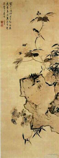 【明 蓝瑛《拒霜秋鸟图》】绢本,纵163.9cm,横62.3cm,上海博物馆藏。湖石横伸,一枝芙蓉斜出,枝上伫立一只小鸟;石旁幽草数枝,伴着两丛秋菊。此图聚于右侧而感平稳,湖石以枯淡之笔钩勒,稍加墨苔;花朵用淡墨双钩;叶子以适度水墨侧笔横超,再以深墨勾出叶茎。枝上小鸟墨彩醒目,栩栩如生。