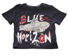 Boboli Baby-Boys Blue Horizon Tee 12m 100% cotton. Buttons at left shoulder.