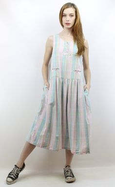 90s Dress Plaid Dress Summer Dress Drop Waist Dress by shopEBV