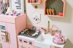 Pink Play Kitchen For Any Little Lady Toddler Christmas Gifts, Toddler Gifts, Baby Bedroom, Girls Bedroom, Playroom Decor, Nursery Decor, Pink Play Kitchen, Toddler Playroom, Girl Rooms