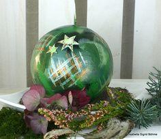 Kerze im Patchwork grün DW 506 von  Kerzenkunst -  Kreatiwita auf DaWanda.com