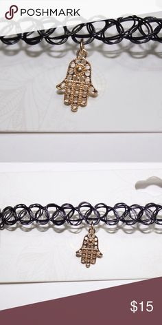 Tattoo Choker Black tattoo choker with gold hand charm Voga Lup Jewelry Necklaces