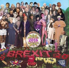 """A touching tribute to celebrities lost in 2016 inspired by The Beatles album Sergeant Pepper's Lonely Hearts Club Band has been shared online.  The photo-shopped picture features musicians David Bowie and Prince, actors Alan Rickman and Gene Wilder and comedians Ronnie Corbett, Caroline Aherne and Victoria Wood among many other familiar faces.  The celebrities pose against a foreground of Brexit written in red flowers next to a hat with Donald Trump's slogan: """"Make America Great ..."""