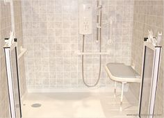 """An accessible shower requires space for a wheelchair and a wide, flat threshold. """"With Courage and Grab Bars, Life Goes On"""" - a guest post by Judy Hasson"""