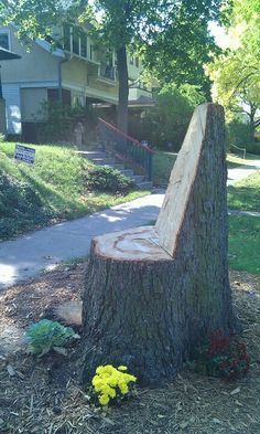 Recycled tree stump into seating