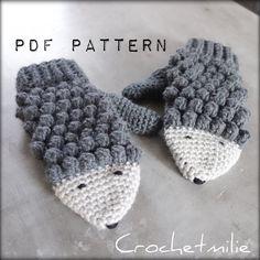 PATTERN PDF #006---Crochet hedgehog mittens