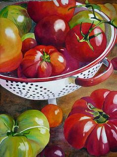 Acuarela de Anne Abgott, contemporary colors used gives the image simplicity on it's own which inspires me to use a similar style Watercolor Fruit, Fruit Painting, Watercolor Artists, Watercolour Painting, Watercolor Flowers, Watercolor And Ink, Watercolours, Still Life Fruit, Fruit Art