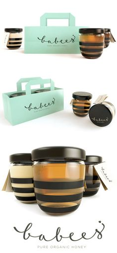 Honey jars with pretty script font.