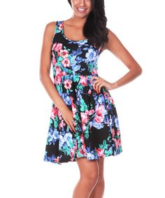 Take a look at the Black & Pink Floral Skater Dress on #zulily today!