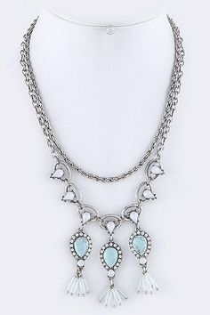 {Crystal Teardrop Layered Necklace}