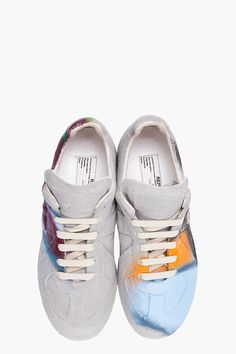Might try my hand at making a pair of these for myself... MAISON MARTIN MARGIELA Grey Handmade Graffiti Sneakers