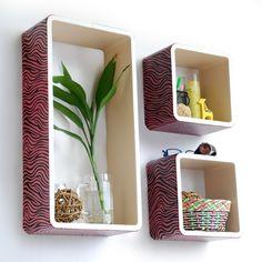 Trista - [Pink Zebra Stripe] Rectangle Leather Wall Shelf / Bookshelf / Floating Shelf (Set of 3)