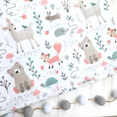 Swaddle/Receiving Blanket - Spring Woodland Bear Fox Deer Mix - Flannel cotton by ThePinkPinecone on Etsy https://www.etsy.com/listing/595318789/swaddlereceiving-blanket-spring-woodland