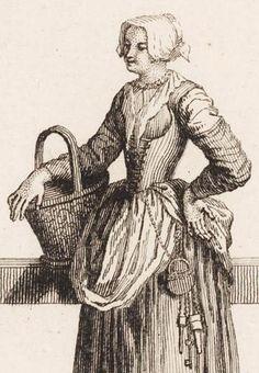 "1728. Detail of ""Paysanne Holandoise / Hollantsche boerinne"" (Farmer's wife from Holland) by Bernard Picart. 18th century women's clothing - Dutch - Netherlands - Holland."