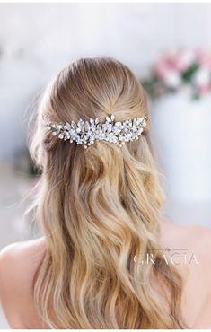 EIRENE Silver leaf wedding hair comb bridal leaf headpiece #topgraciawedding #bridalhairaccessories #weddingheadband