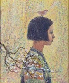 ⊰ Posing with Posies ⊱ paintings of women and flowers - Hang Ryul Park - Yearning