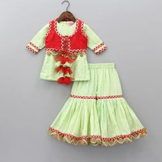 Pre Order: Green Kurta And Sharara With Red Jacket Girls Dresses Sewing, Kids Outfits Girls, Little Girl Dresses, Kid Outfits, Kids Party Wear Dresses, Kids Dress Wear, Birthday Dresses, Baby Girl Dress Design, Girls Frock Design